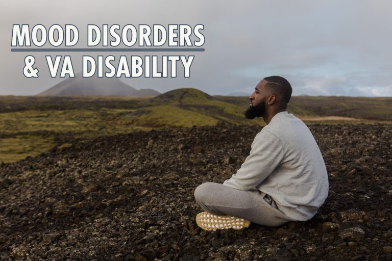 african american man sitting in broan grass against grey sky with text overlay Mood Disorders VA Disability Benefits