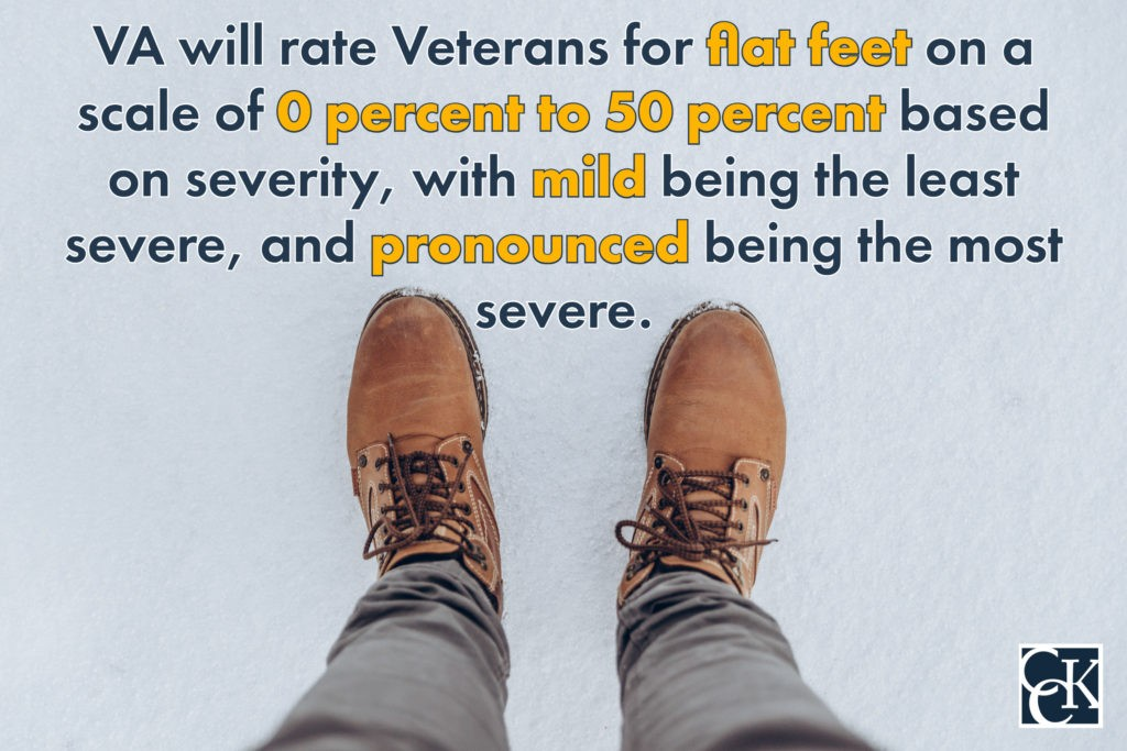 VA will rate Veterans for flat feet on a scale of 0 percent to 50 percent based on severity, with mild being the least severe, and pronounced being the most severe.