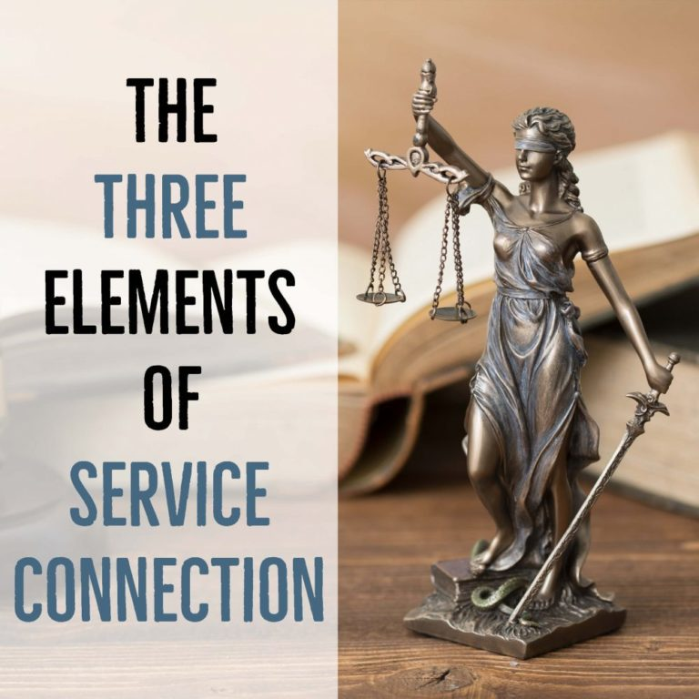 Lady justice VA benefits 3 elements service connection