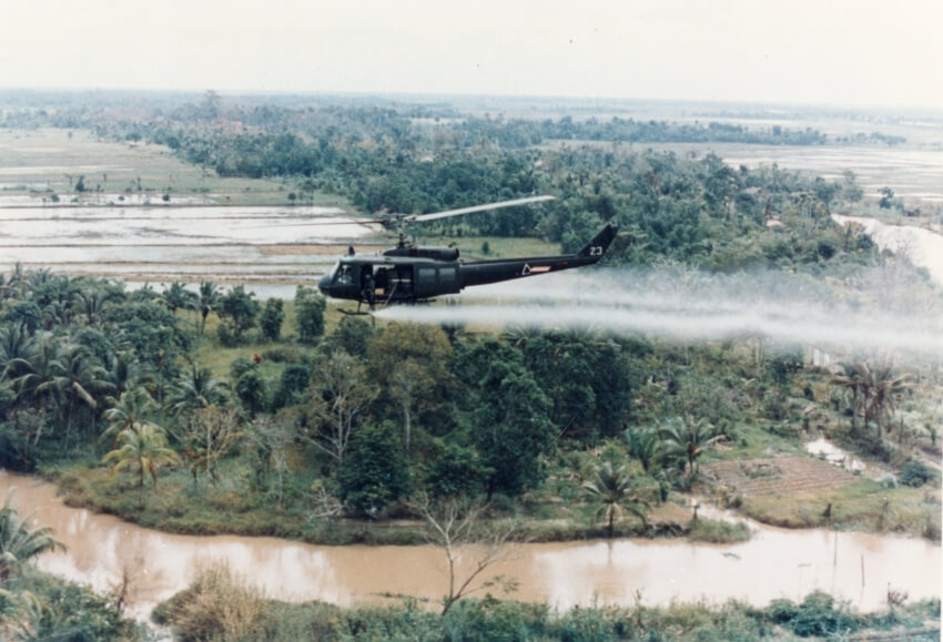 helicopter spraying herbicides