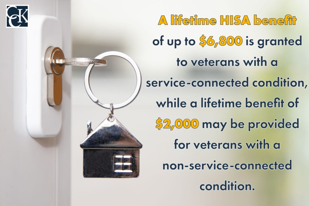A lifetime HISA benefit of up to $6,800 is granted to veterans with a service-connected condition, while a lifetime benefit of $2,000 may be provided for veterans with a non-service-connected condition.